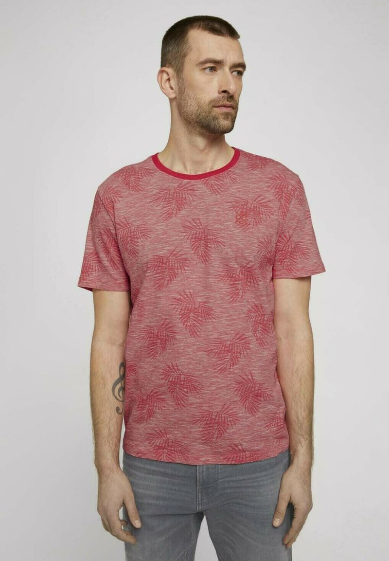 TOM TAILOR - Print T-shirt - plain red white stripe