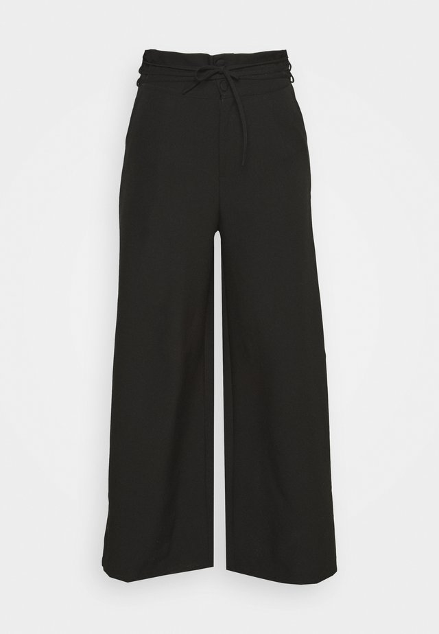DEEP WAIST BAND WIDE LEG TROUSER - Pantaloni - black