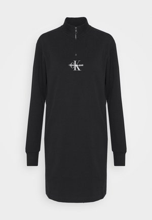 MOCKNECK ZIP WITH MONOGRAM - Denní šaty - black