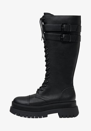MIT PLATEAU-SOHLE UND SCHNALLEN - Platform boots - black