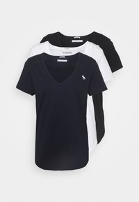 Abercrombie & Fitch - VNECK 3 PACK - T-shirts - black/white/navy - 0