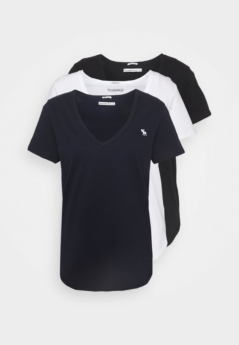 Abercrombie & Fitch - VNECK 3 PACK - Basic T-shirt - black/white/navy
