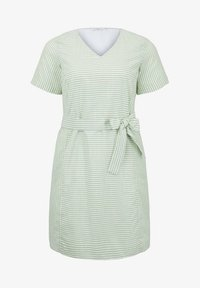 MY TRUE ME TOM TAILOR - EASY SLUB STRIPE DRESS - Day dress - light green white stripe - 5