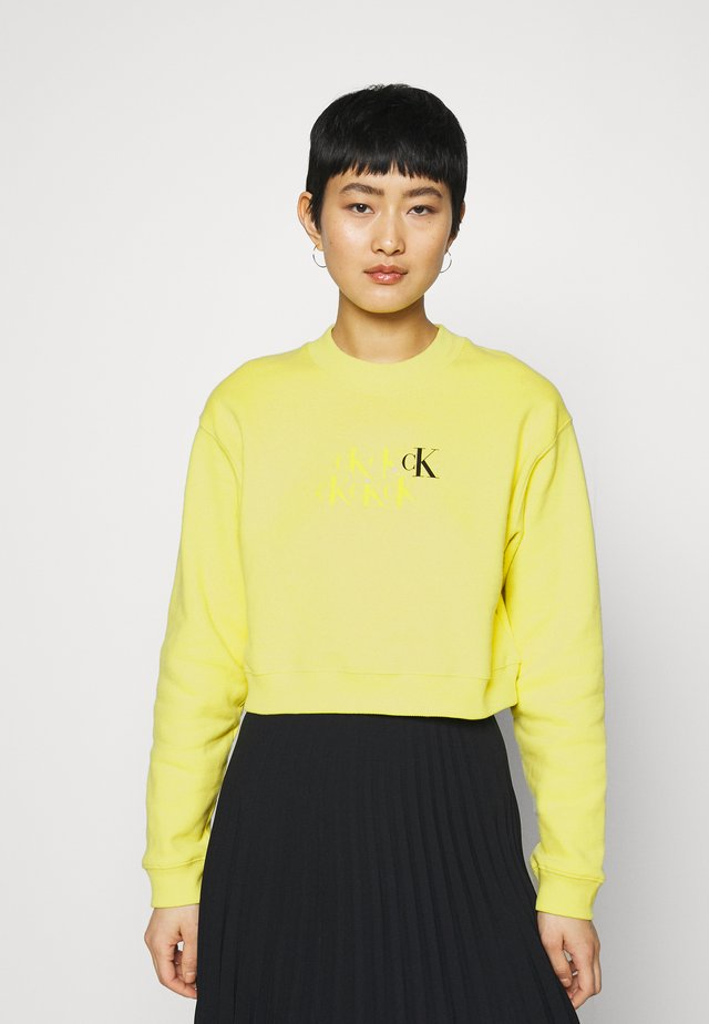 MONOGRAM CROPPED - Felpa - lime zing