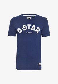 G-Star - FELT APPLIQUE LOGO SLIM ROUND SHORT SLEEVE - T-shirt imprimé - imperial blue - 4
