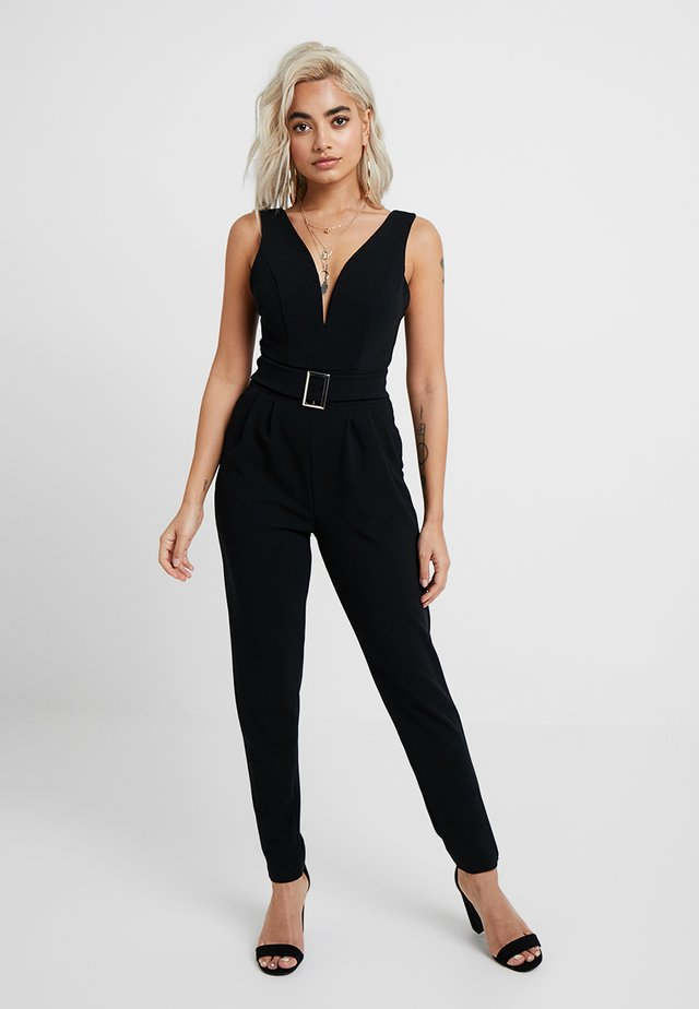 EXCLUSIVE BUCKE V NECK - Jumpsuit - black