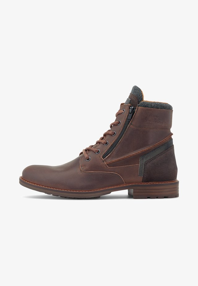 Lace-up ankle boots - dunkelbraun