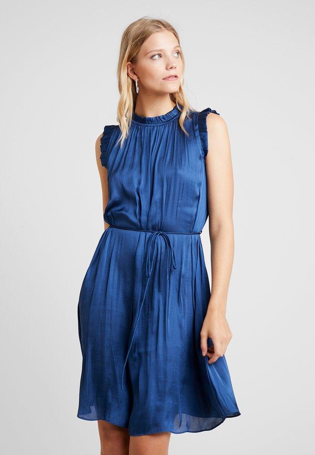 SOFT RUFFLE NECK SOLID DRESS - Day dress - indigo fog global