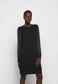 DKNY - FOIL CREW NECK DRESS - Jumper dress - black/silver - 0