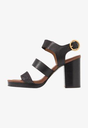 Sandály na vysokém podpatku - glitter/nero