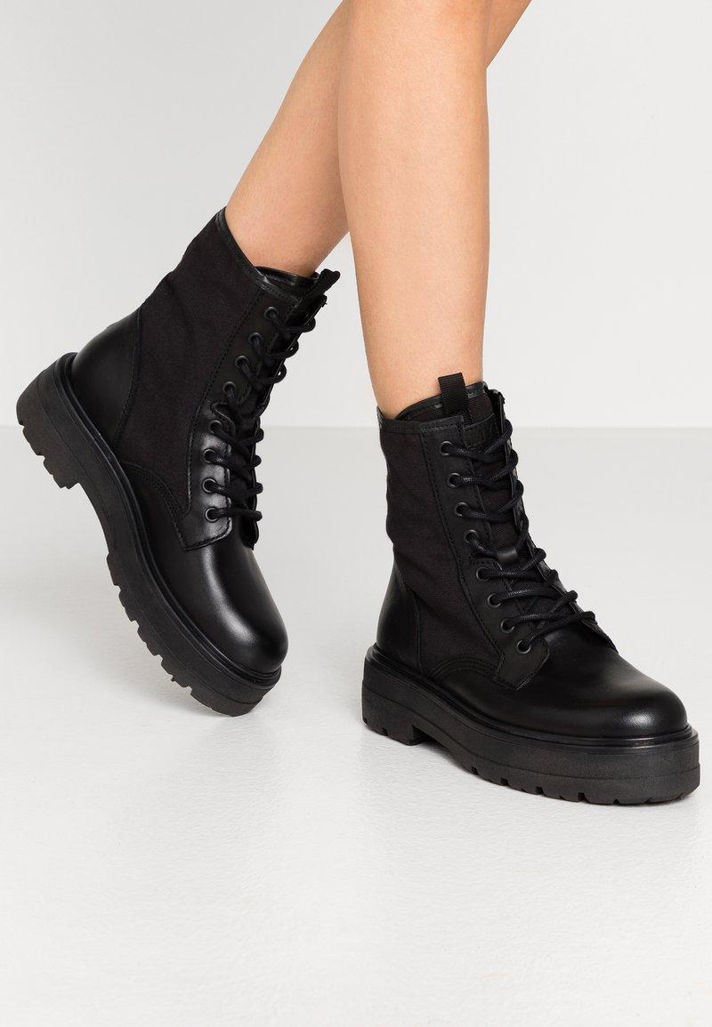 Tommy Jeans - FLATFORM BOOT - Platform ankle boots - black