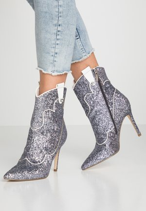 High heeled ankle boots - silver glam