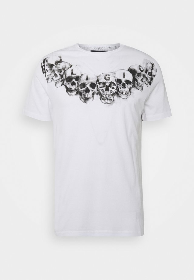 NECKLACE SKULL TEE - T-shirts med print - white