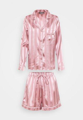 STRIPED SHIRT AND SHORTS - Pyjamas - pink
