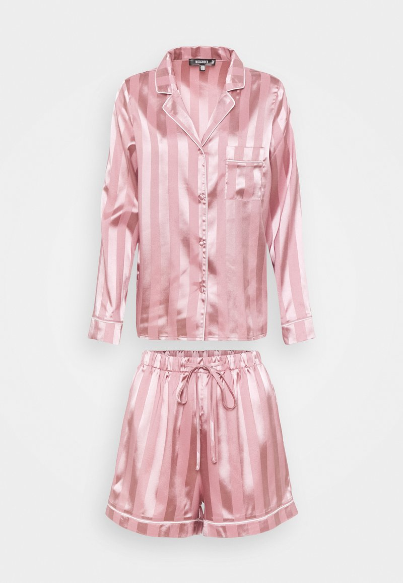 Missguided - STRIPED SHIRT AND SHORTS - Pyjamas - pink