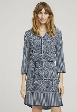 Day dress - navy white ethno design