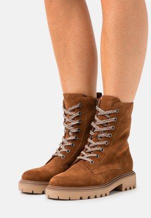 LEATHER - Snørestøvletter - brown