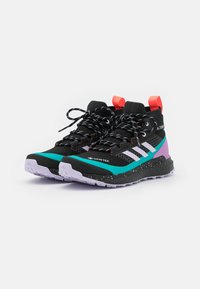 adidas Performance - TERREX FREE HIKER GORE-TEX - Hiking shoes - core black/purple tint/signal pink - 1