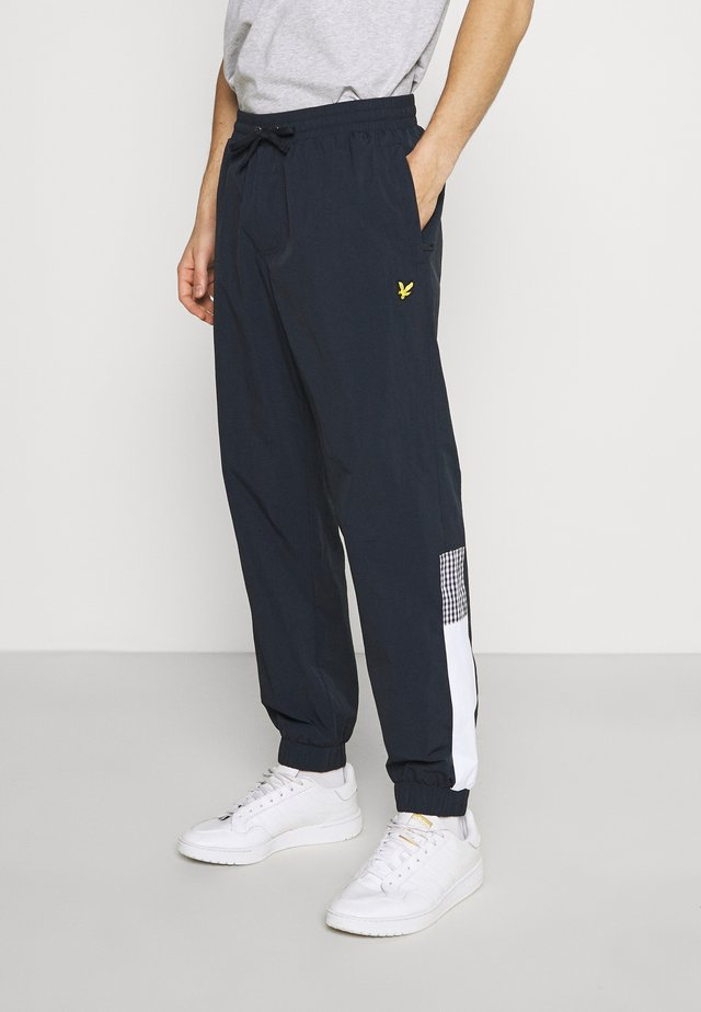 GINGHAM TRACK PANT - Teplákové kalhoty - dark navy