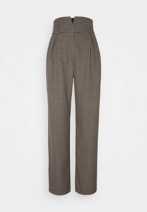 SLFLAUREN WIDE PANT CHECK - Trousers - coffee bean