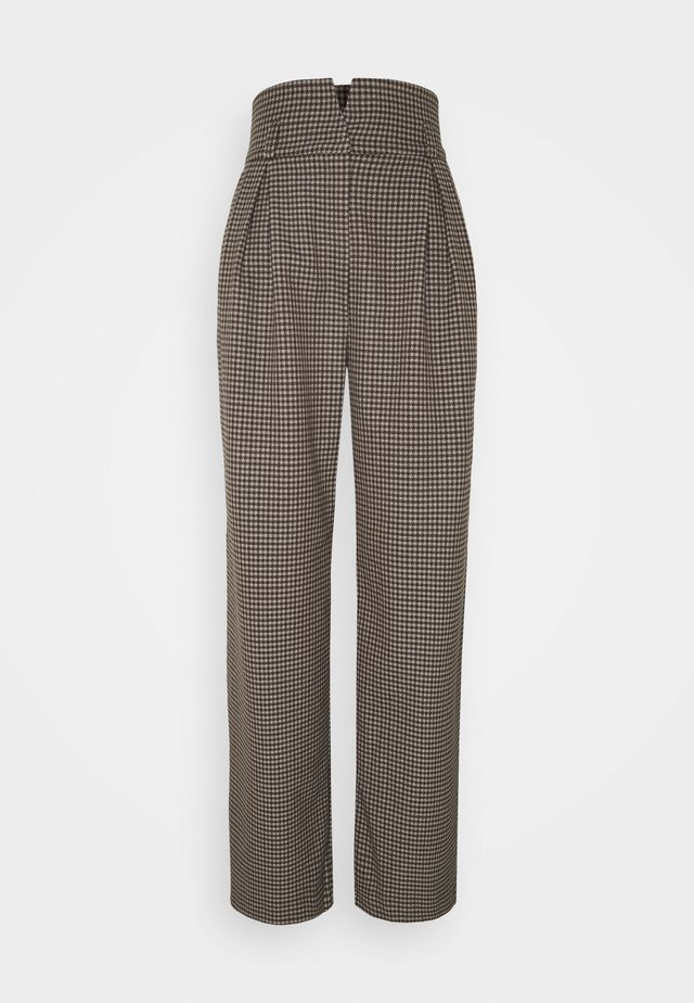 SLFLAUREN WIDE PANT CHECK - Pantaloni - coffee bean