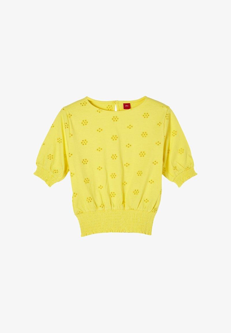 s.Oliver - MIT LOCHSTICKEREI - Longsleeve - yellow