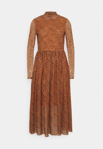 PRINTED MIDI DRESS - Day dress - brown