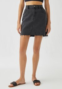 PULL&BEAR - A-line skirt - black denim - 0