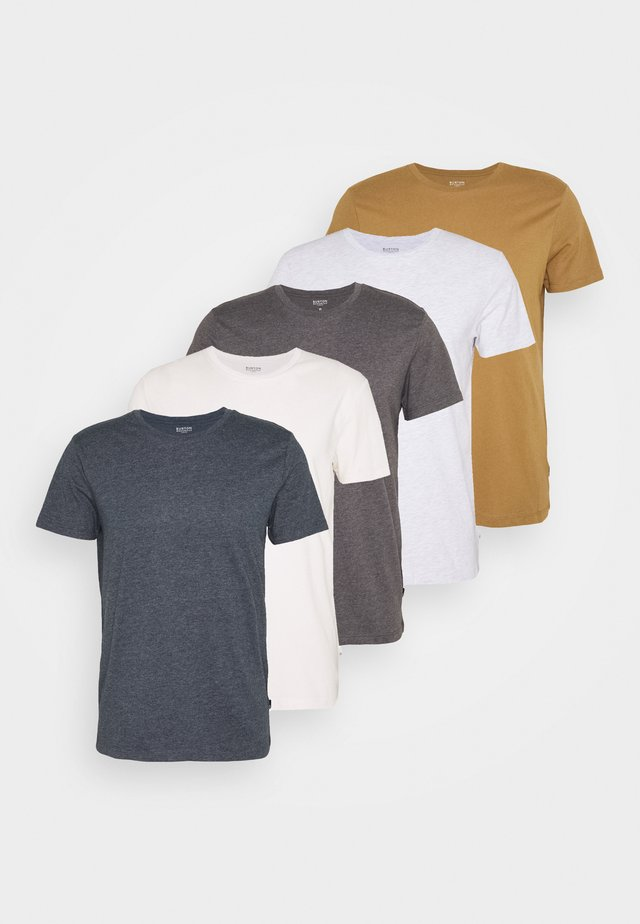 SHORT SLEEVE CREW 5 PACK - T-shirt basic - off white/white/mustard/light grey marl/charcoal marl/navy marl