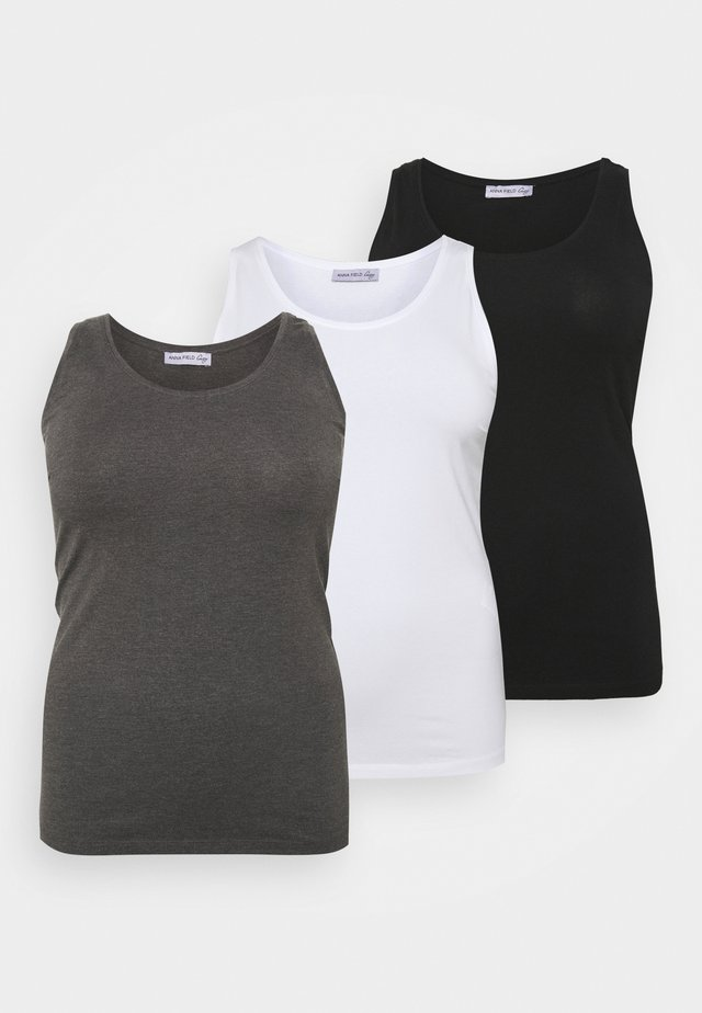 3ER PACK BASIC TANK TOP  - Linne - black/white/mottled grey