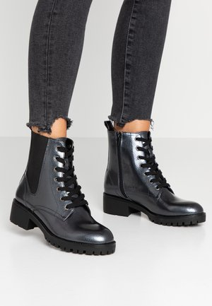 Bottines à lacets - gunmetal