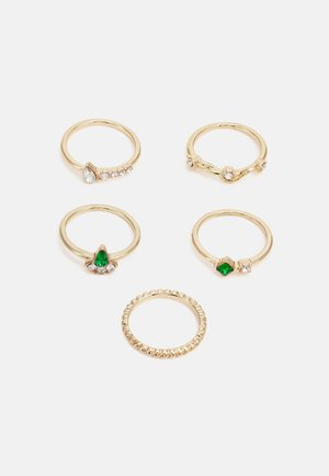 PCPORCHA 5 PACK - Ring - gold-coloured/green/clear