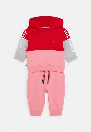 BABY COLORBLOCK HOODIE SET - Mikina - red