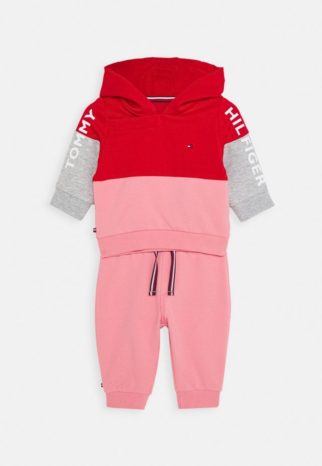 BABY COLORBLOCK HOODIE SET - Sweatshirt - red