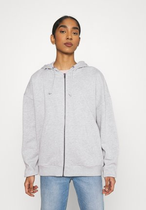 Oversized Zip Through Sweat Jacket - Collegetakki - mottled light grey