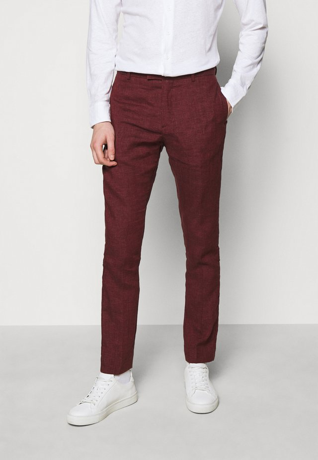 FORMAL TAILORED TROUSERS - Kostymbyxor - dark red