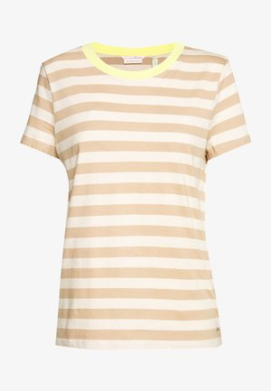 STRIPED TEE WITH CONTRAST NECK - T-shirts med print - beige/white