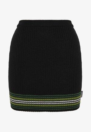 STRIPED HEM SKIRT - Mini skirt - black/green
