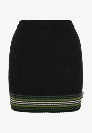STRIPED HEM SKIRT - Spódnica mini - black/green