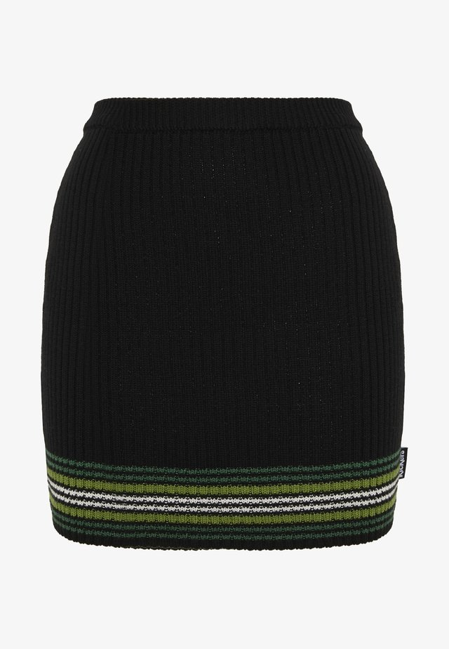 STRIPED HEM SKIRT - Spódnica mini - black/green