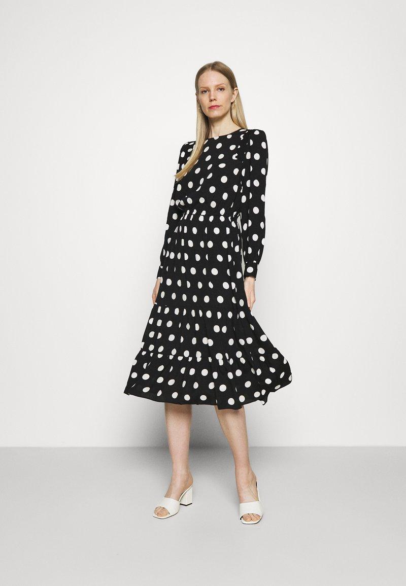 Marks & Spencer London - SPOT VOLUME MIDI - Day dress - black