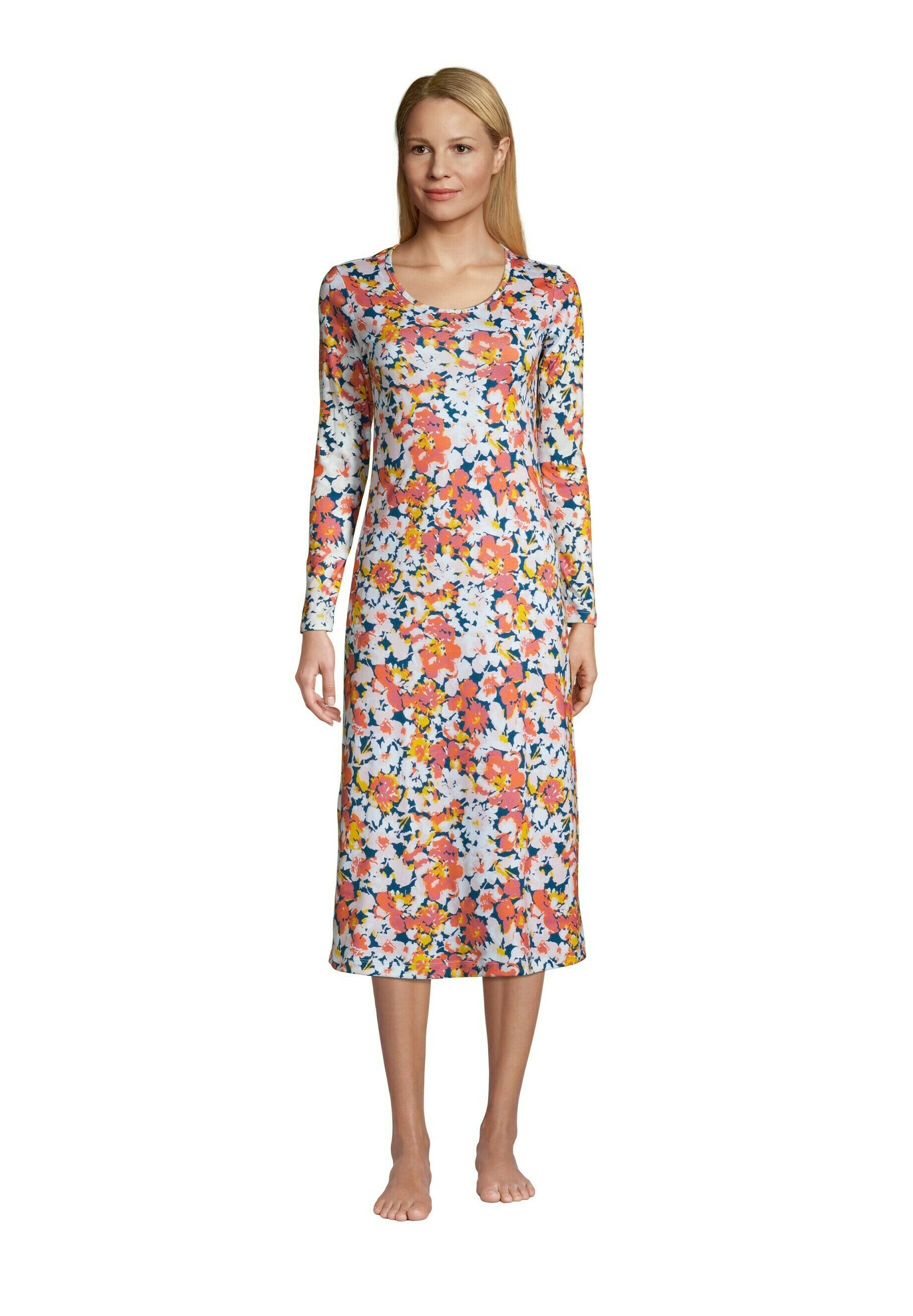 Damen Nachthemd - baltic teal multi dyed floral