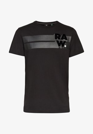 RAW. STRIPE GRAPHIC ROUND SHORT SLEEVE - Print T-shirt - dk black
