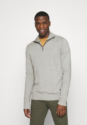 JORELI HIGH NECK ZIP - Neule - light grey melange