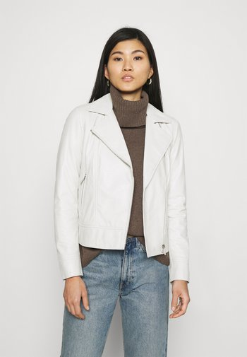 MARJORY - Leather jacket - white