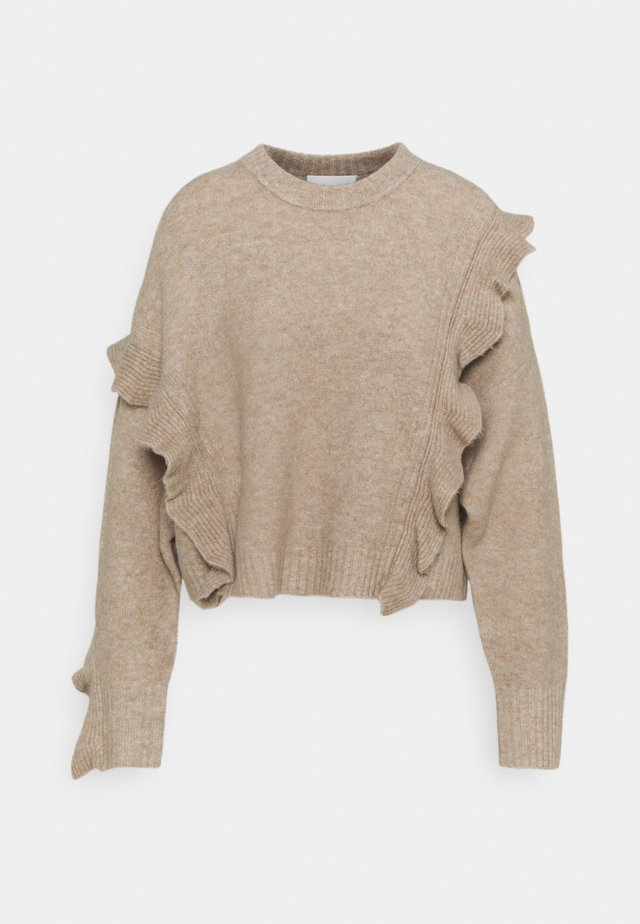 LOFTY CROPPED RUFFLE - Strickpullover - taupe
