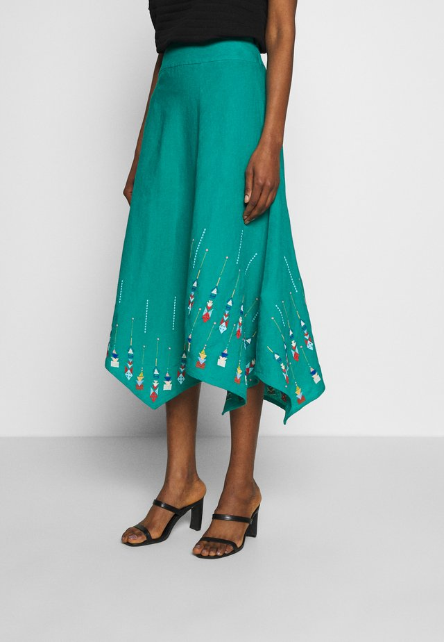 SKIRT WITH EMBROIDERY - A-line skjørt - turquoise