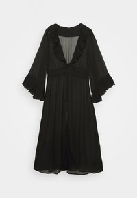 Simply Be - RUFFLE FRONT KIMONO - Lehká bunda - black - 0