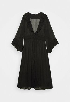 RUFFLE FRONT KIMONO - Summer jacket - black