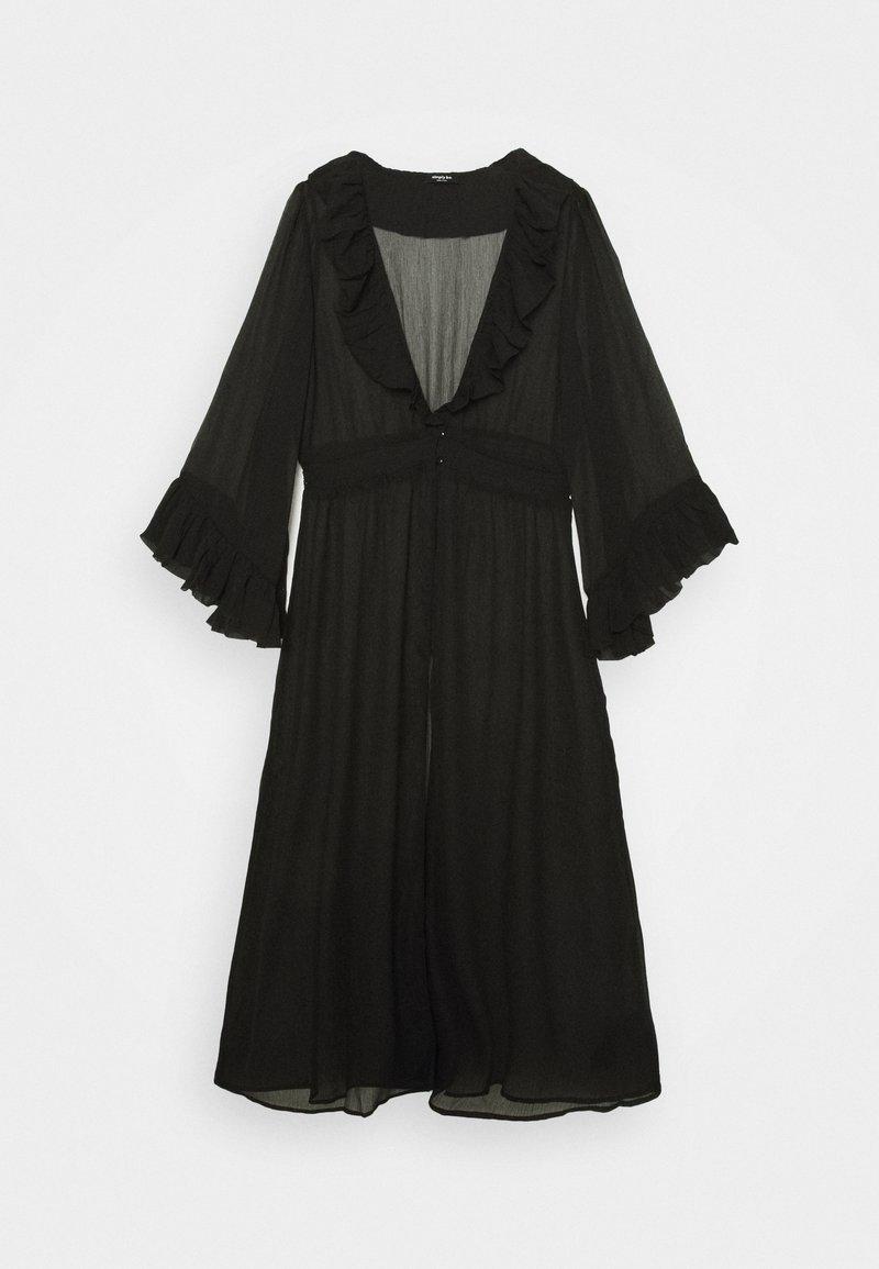 Simply Be - RUFFLE FRONT KIMONO - Lehká bunda - black